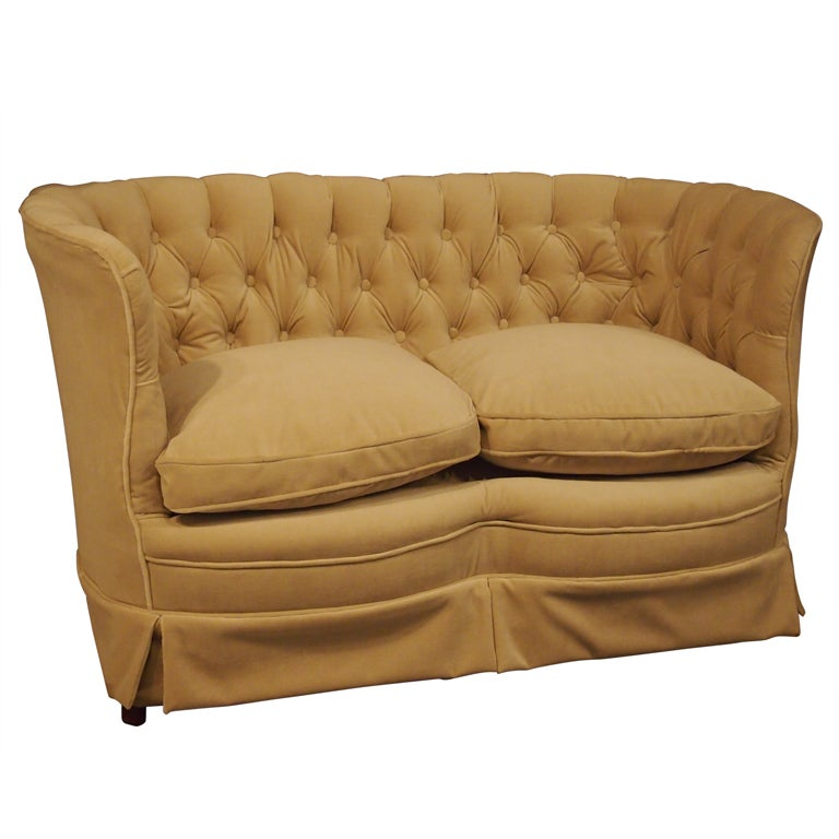 1920 S French Tufted Curved Velvet Settee At 1stdibs