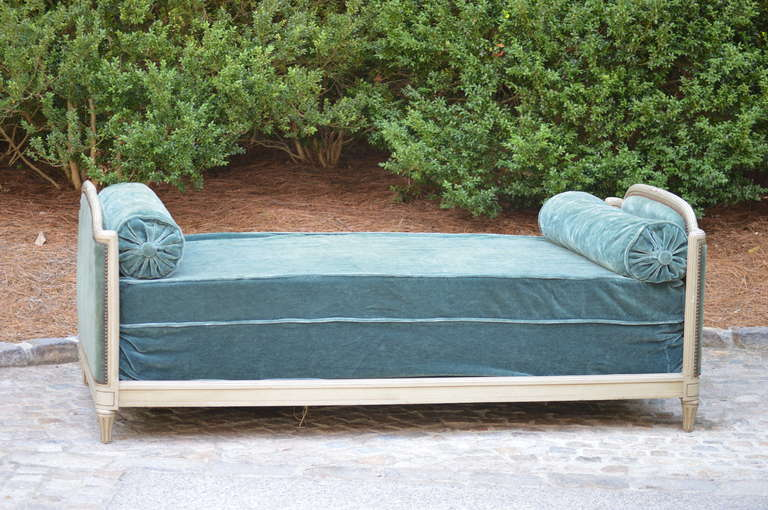 1937 French  Velvet Mohair Daybed with original tag from Bon Marche. Wonderful condition. Original boxspring and Blue velvet mohair fabric. Standard twin mattress on top has been replaced. Assembles with very easy french screws. Very Comfortable.