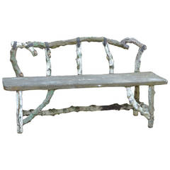Antique French Stone Faux Bois Bench