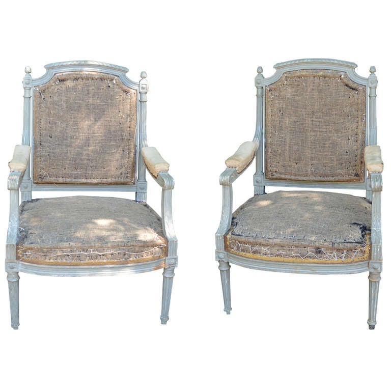 Pair of French Gray Painted Louis XVI Fauteuil Chairs For Sale