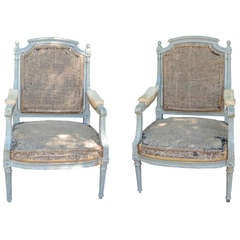 Pair of French Gray Painted Louis XVI Fauteuil Chairs