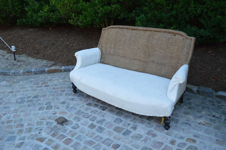 19th C French Settee with original burlap and muslin