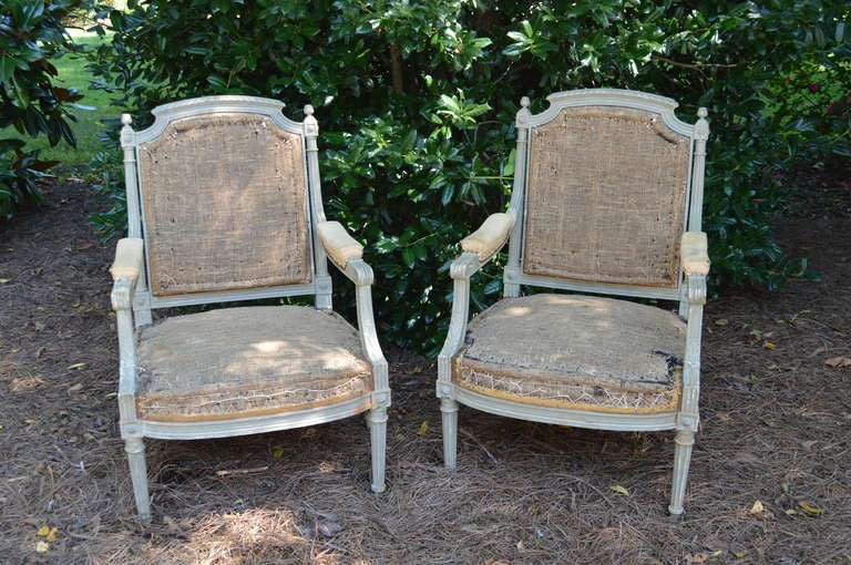 Pair of French gray painted Louis XVI fauteuils with elaborately carved frames and original upholstery. Carved details include acanthus leaves, fluted legs, rosettes and water leaves. Beautiful patina and large comfortable seat.