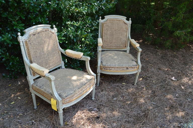 Pair of French Gray Painted Louis XVI Fauteuil Chairs 8