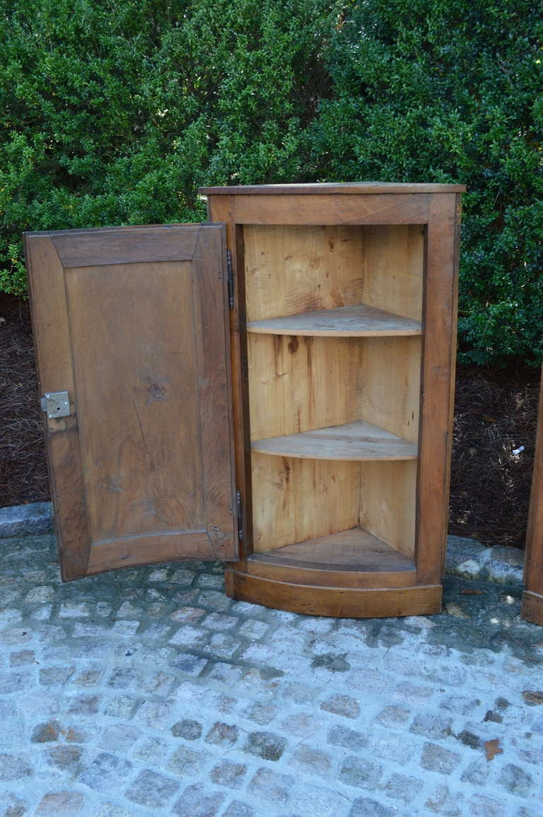 19th Century Pair of Hanging French Walnut Corner Cabinets Circa 1870 For Sale