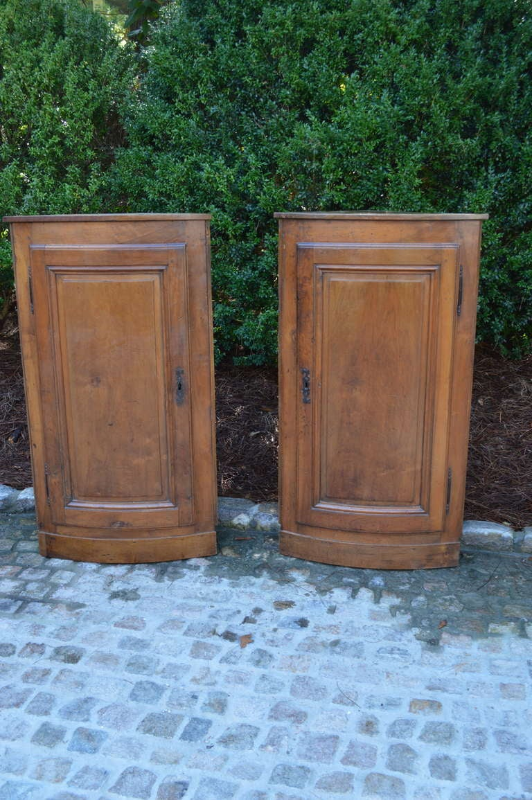Pair of Hanging French Walnut Corner Cabinets Circa 1870 For Sale 2