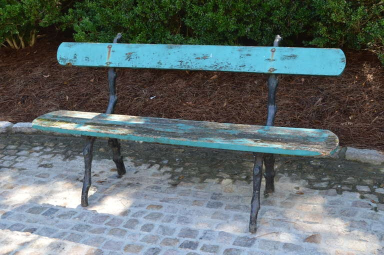 "19th C Painted French Garden Bench. Detailed ""faux bois"" ironwork and original paint."