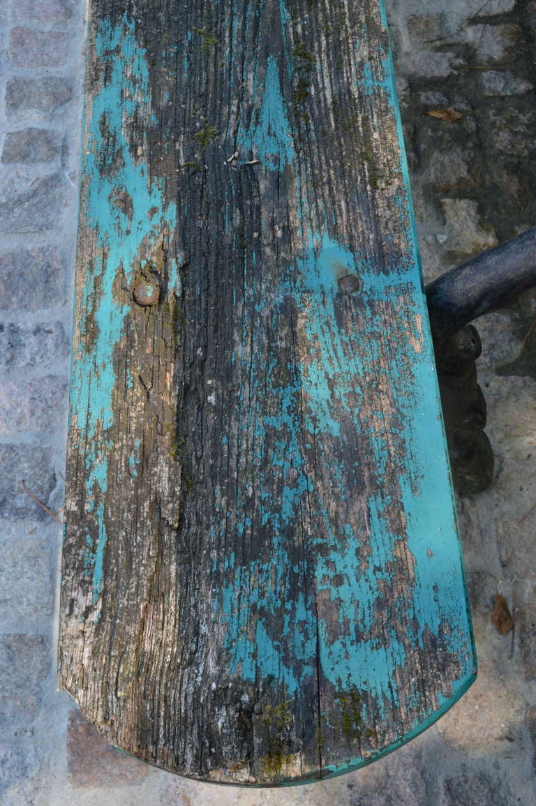 19th C Painted French Garden Bench For Sale 2