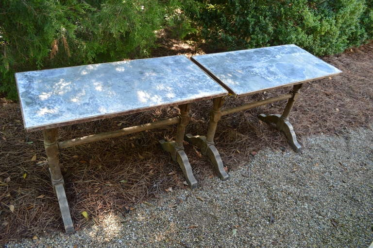 1930's French Zinc Bistro Tables In Good Condition For Sale In Nashville, TN