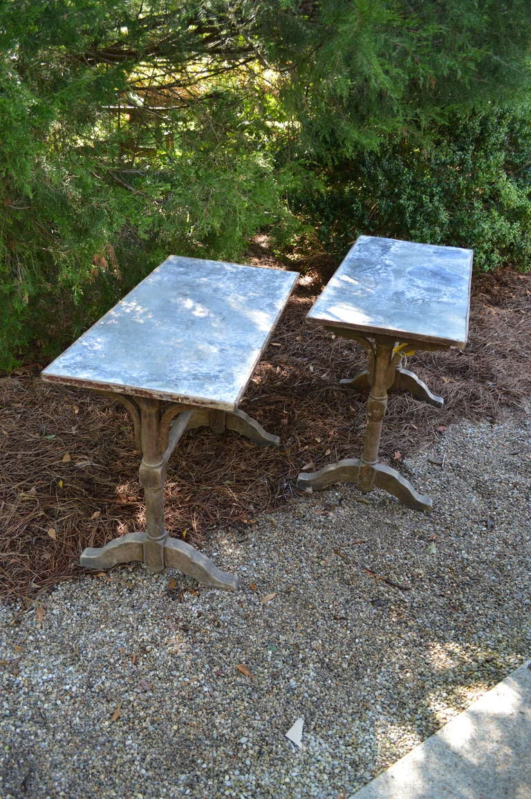 Mid-20th Century 1930's French Zinc Bistro Tables For Sale
