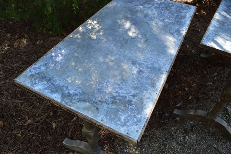 1930's French Zinc Bistro Tables For Sale 1
