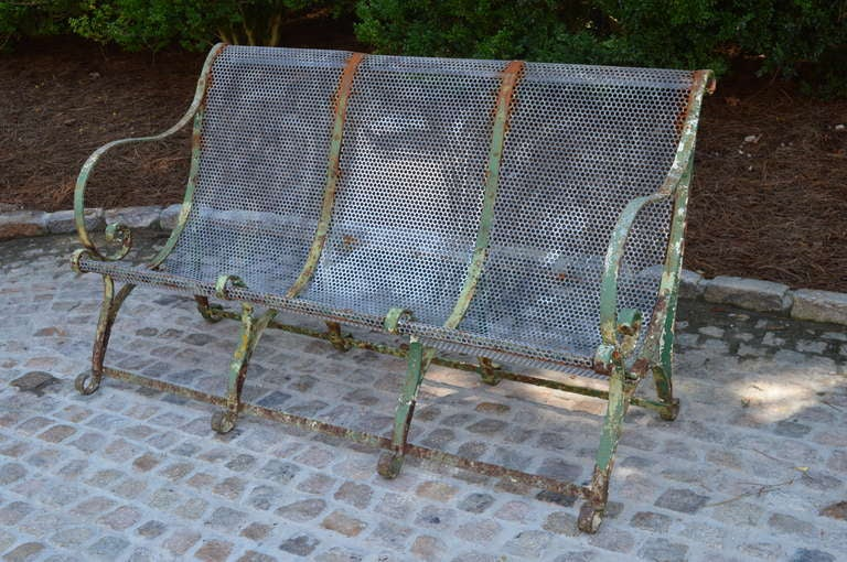 Elegant painted wrought iron French  garden bench.