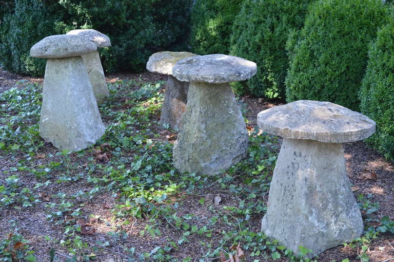 British Set of Five English Cotswold Staddle Stones For Sale