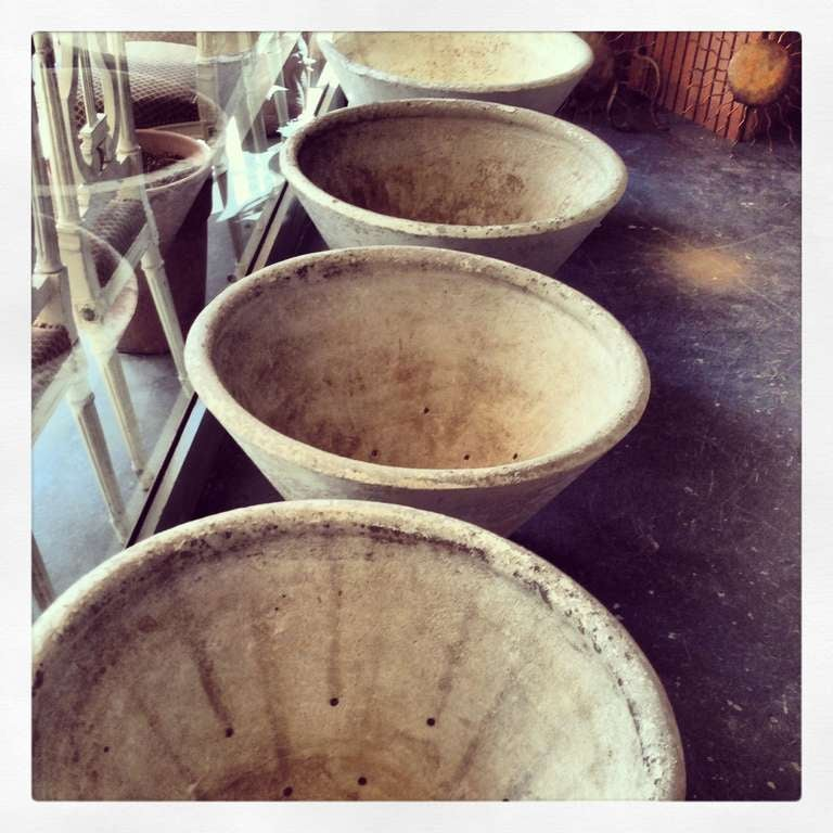 c. 1920 Set of Four Large French Concrete Planters For Sale 2