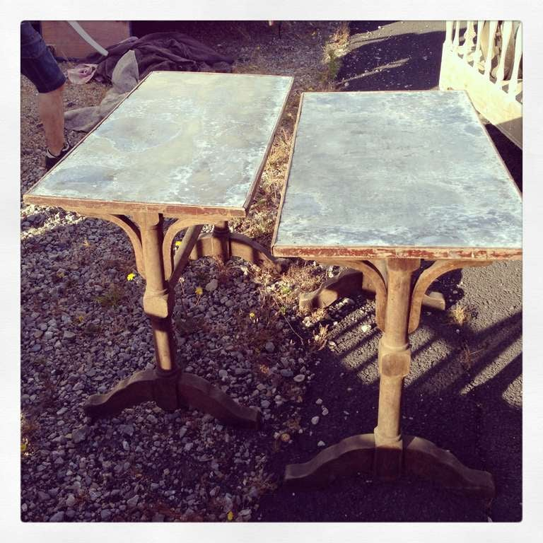 1930's French Zinc Bistro Tables For Sale 3