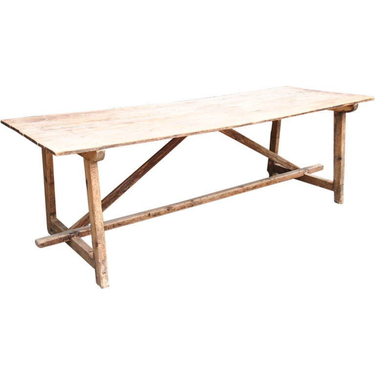 19th century French bleached oak trestle dining table at  : XXX934813376550771copy from www.1stdibs.com size 768 x 768 jpeg 34kB