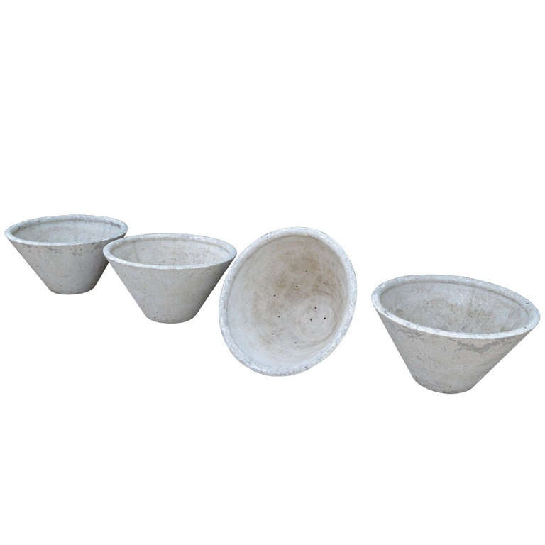 c. 1920 Set of Four Large French Concrete Planters For Sale