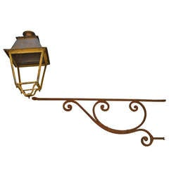 Antique French Iron Lantern on Cast Iron Bracket