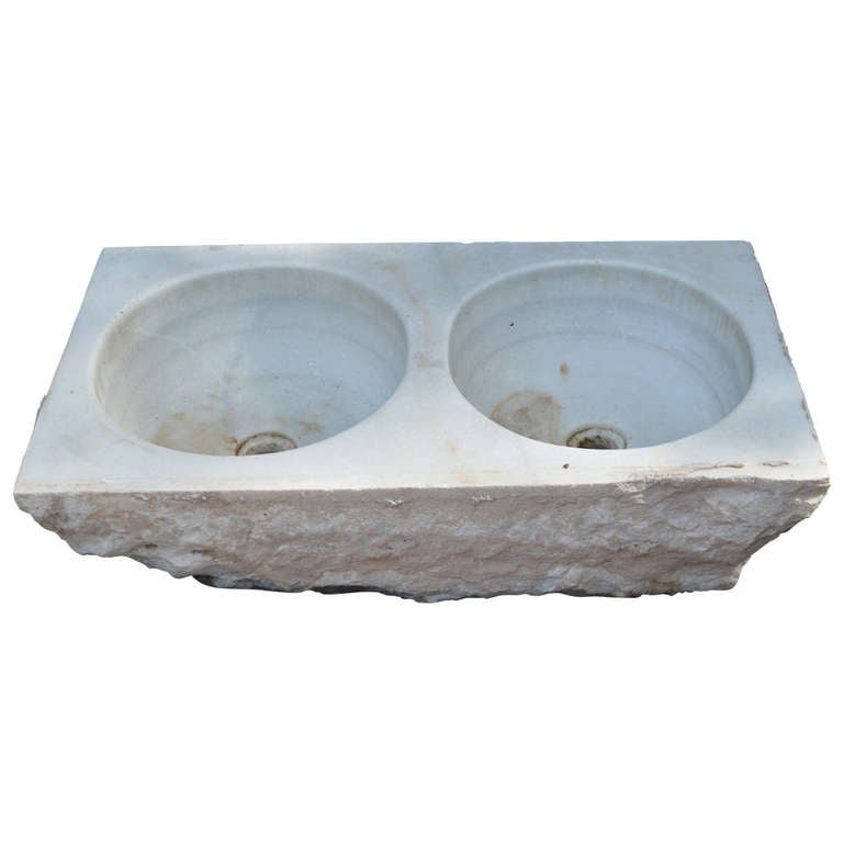 19th c French Carved Marble Sink For Sale