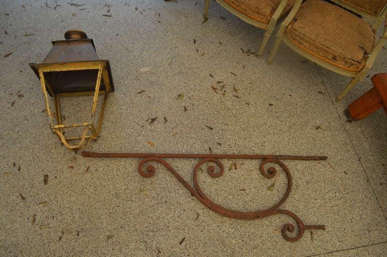 Antique French Iron Lantern on Cast Iron Bracket 2