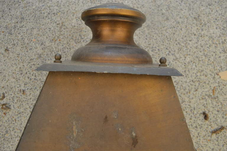 French Provincial Antique French Iron Lantern on Cast Iron Bracket For Sale