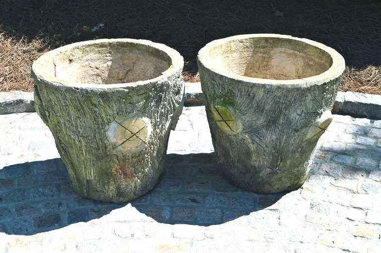 Pair of Large Mid-century faux bois French concrete planters.
