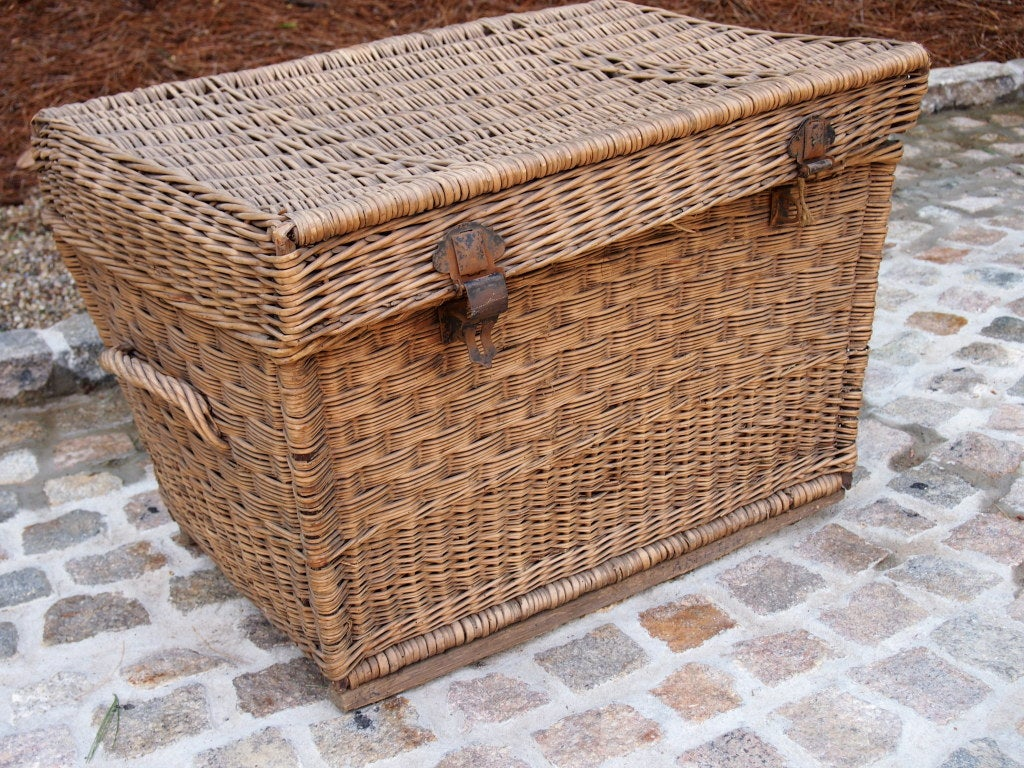 Large french wicker square top basket with metal buckles at 1stdibs Coffee table with wicker baskets