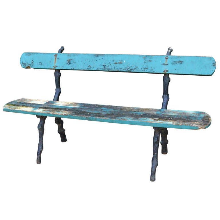 19th C Painted French Garden Bench