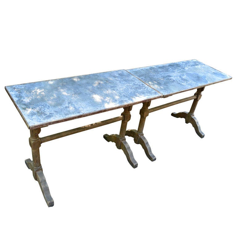 1930's French Zinc Bistro Tables For Sale