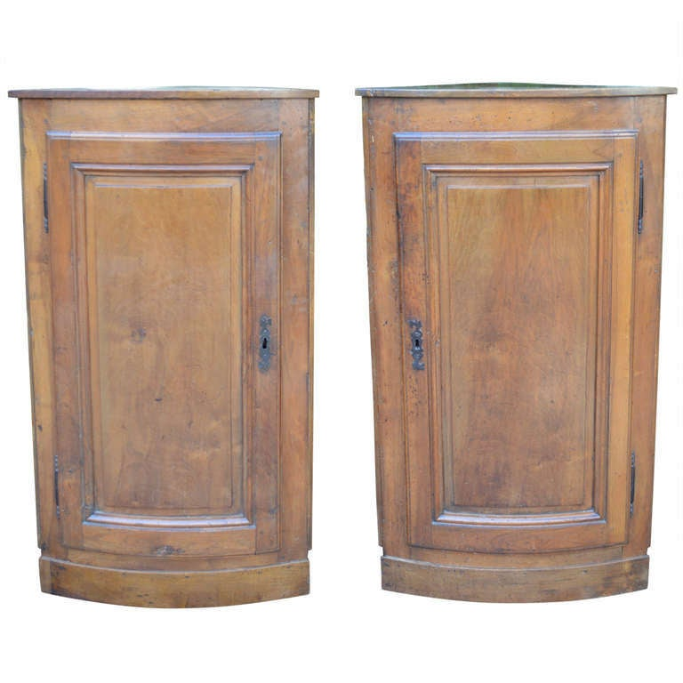 Pair of Hanging French Walnut Corner Cabinets Circa 1870 For Sale
