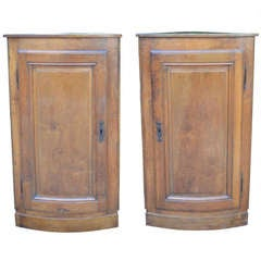 Pair of Hanging French Walnut Corner Cabinets Circa 1870