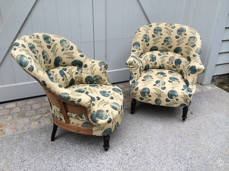 "Antique French Napoleon III salon chairs newly upholstered in Michael S. Smith ""Indian Flower"" fabric for Jasper."
