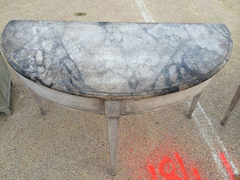 Pair of 19th Century Swedish Faux Marble, Demilune Tables In Excellent Condition For Sale In Nashville, TN
