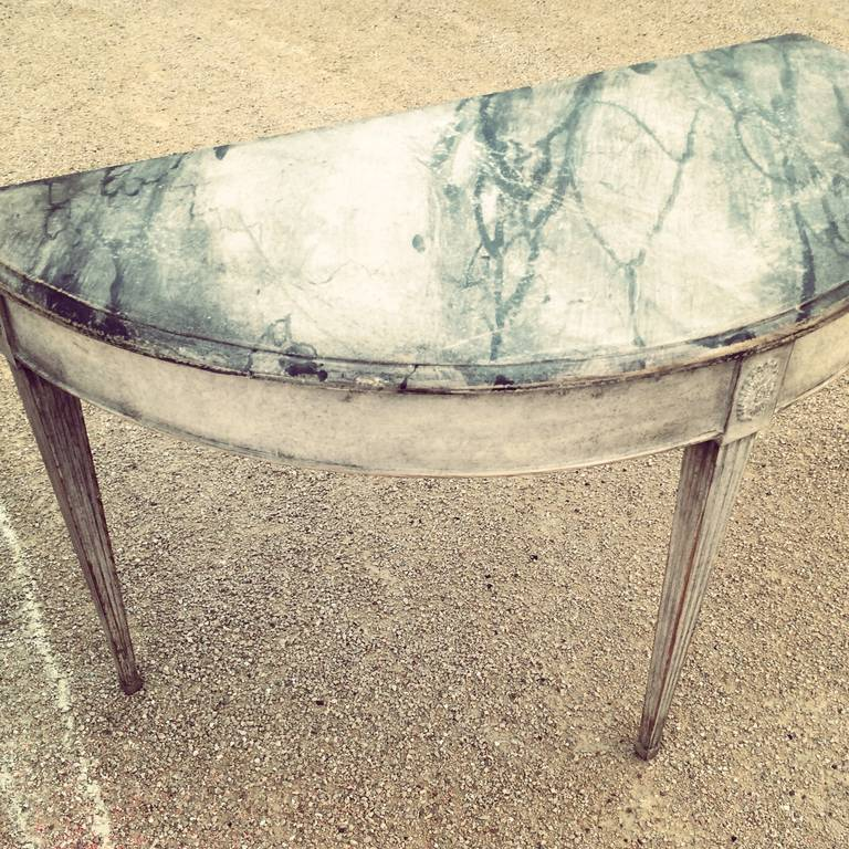 Wood Pair of 19th Century Swedish Faux Marble, Demilune Tables For Sale