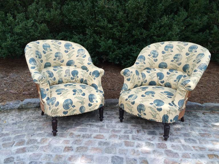 Cotton French Napoleon III Chairs with Michael S. Smith Fabric For Sale