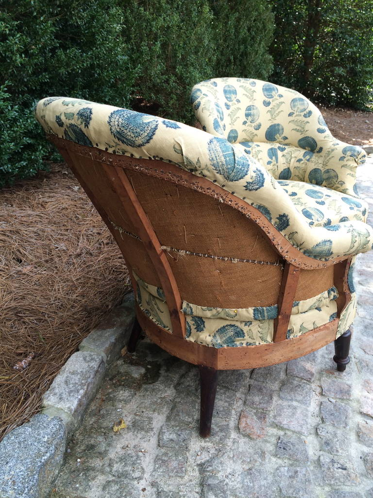 19th Century French Napoleon III Chairs with Michael S. Smith Fabric For Sale