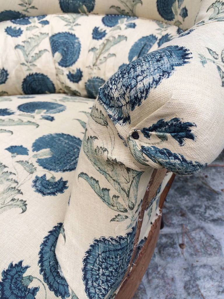 French Napoleon III Chairs with Michael S. Smith Fabric In Good Condition For Sale In Nashville, TN