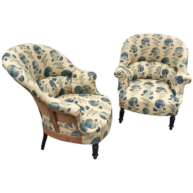 French Napoleon III Chairs with Michael S. Smith Fabric For Sale