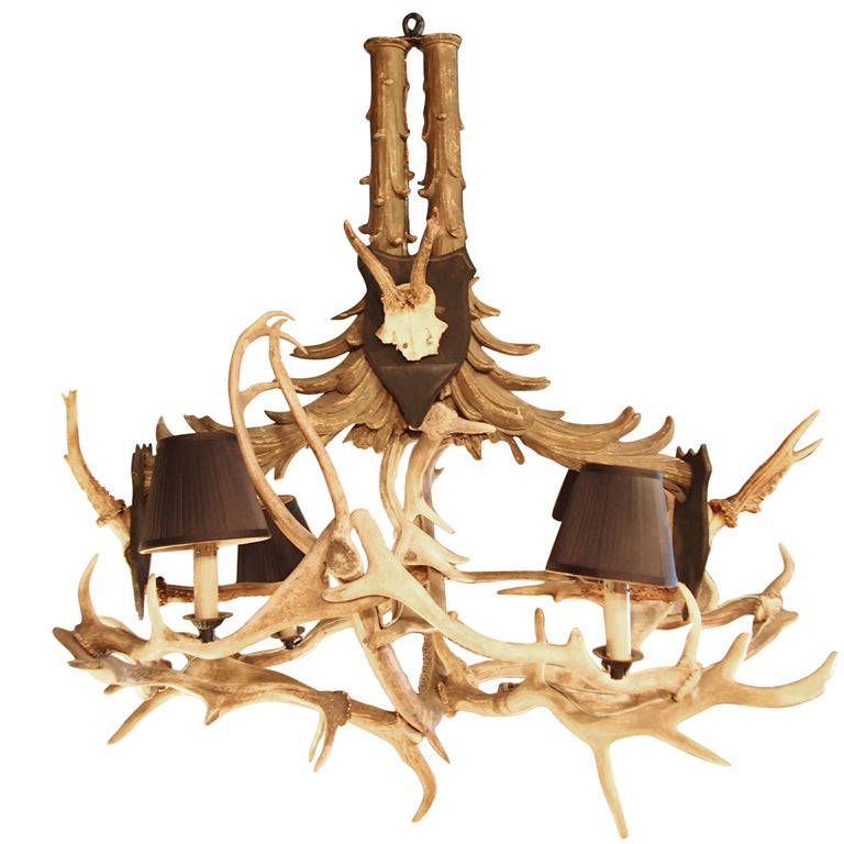 19th c. French Wood and Antler Chandelier For Sale