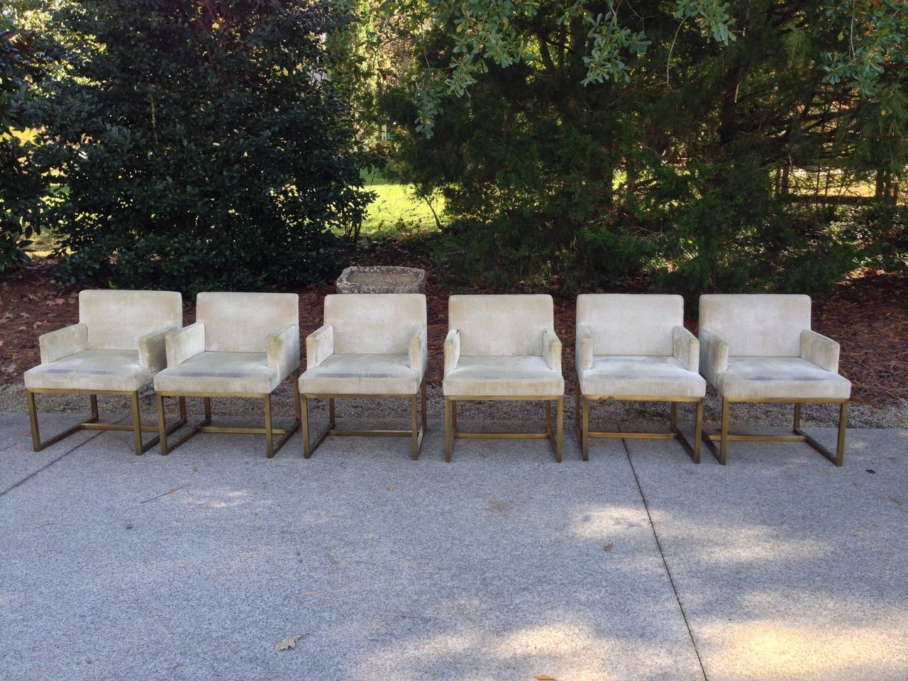 Three Pairs of Mid-Century Swedish Brass Chairs In Good Condition For Sale In Nashville, TN