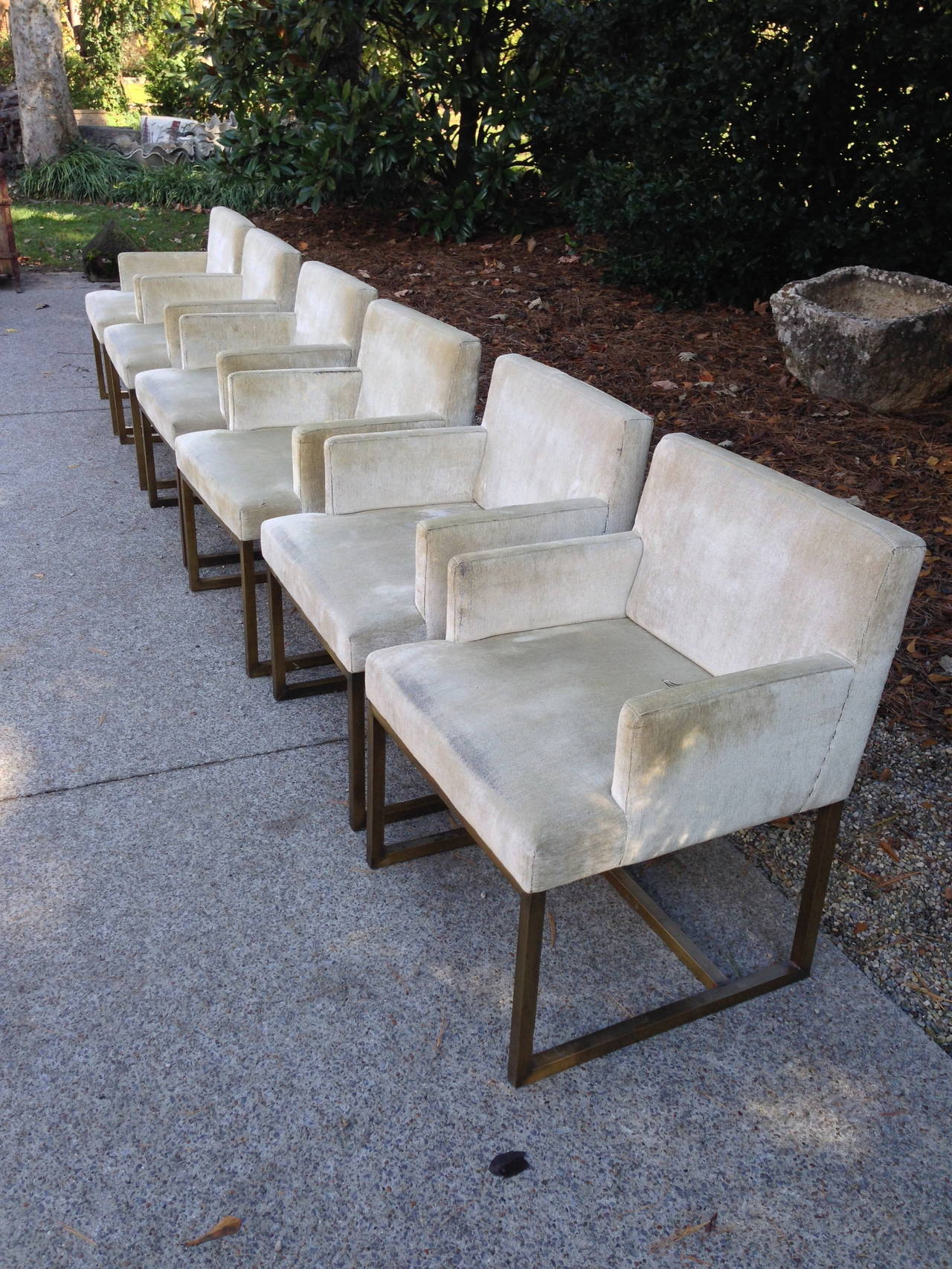 Fabulous set of mid-century Swedish chairs with solid brass bases and original velvet. Heavy and comfortable. 2 are sold and four remain. Sold as pairs but priced per chair