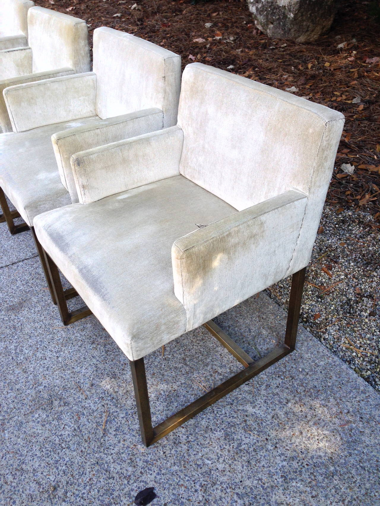 Three Pairs of Mid-Century Swedish Brass Chairs For Sale 3