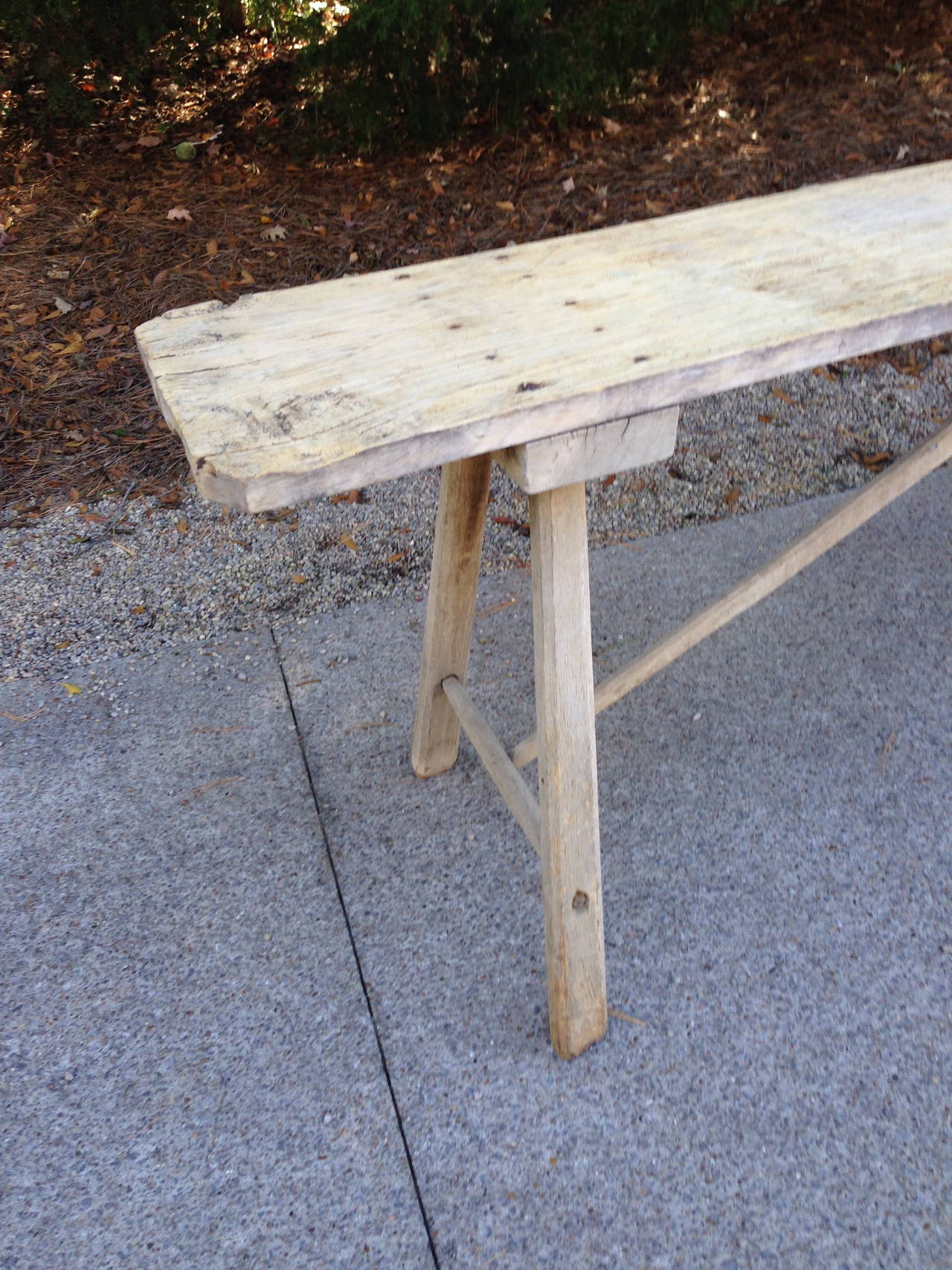 18th Century French Oak Trestle Table with Single Plank Top For Sale 2