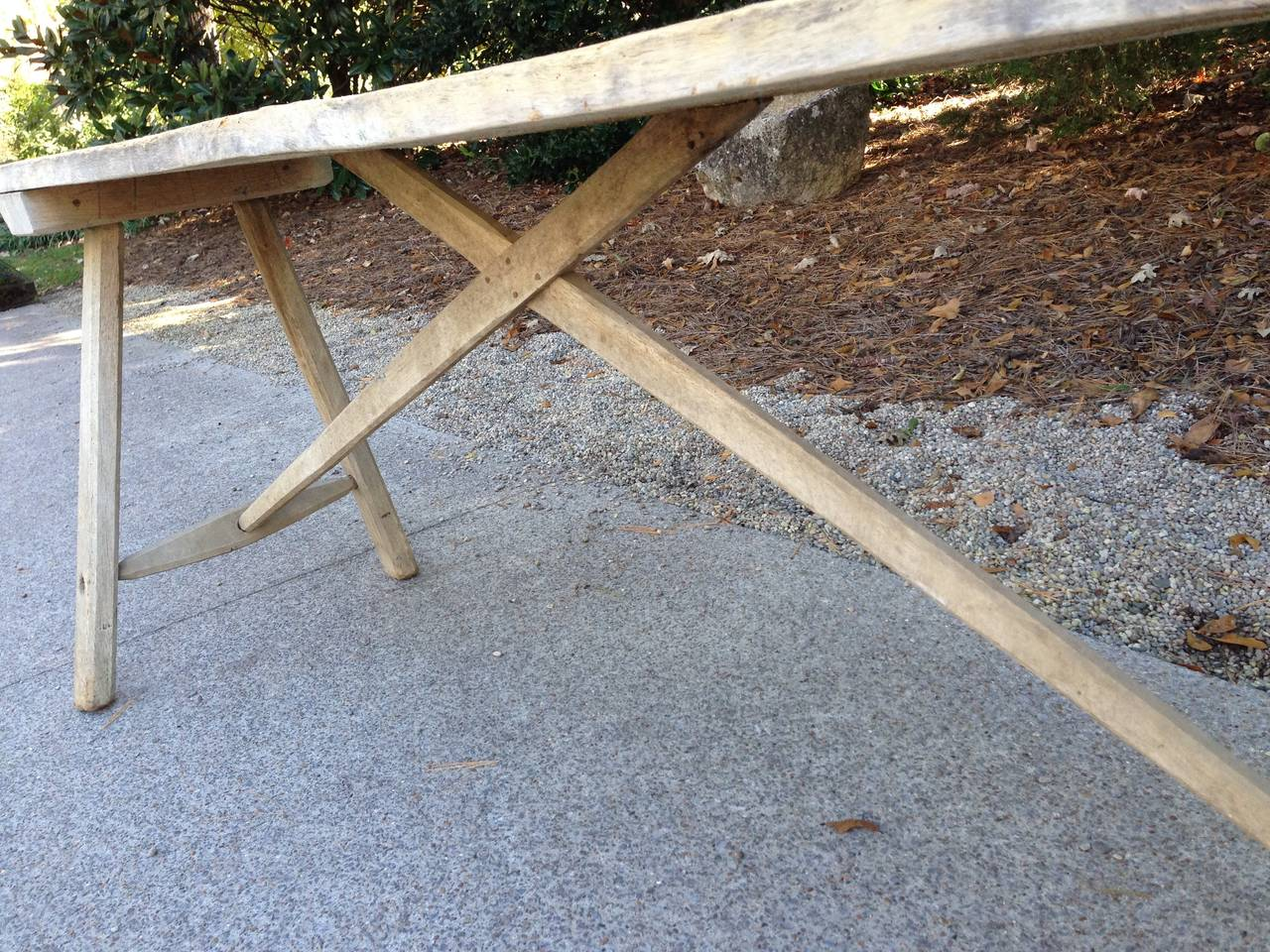 Wood 18th Century French Oak Trestle Table with Single Plank Top For Sale