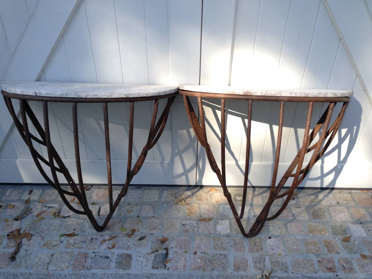 Pair of Antique French Iron  Hay Rack Tables For Sale 3