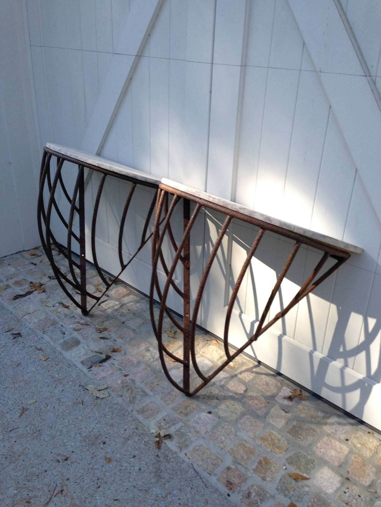 Pair of Antique French Iron  Hay Rack Tables In Excellent Condition For Sale In Nashville, TN
