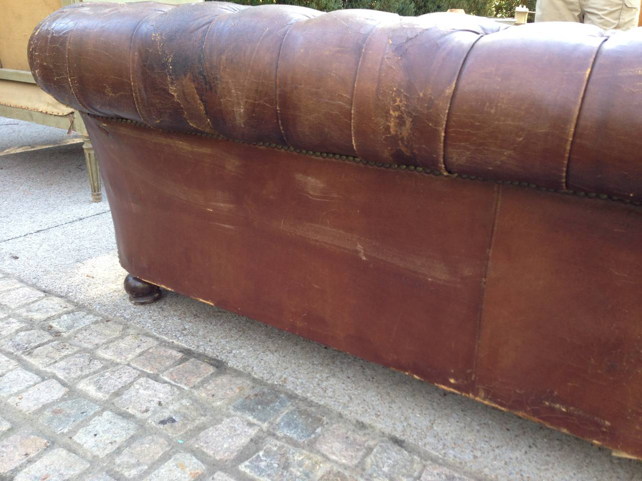 Mid-20th Century 1930s French Leather Chesterfield Sofa For Sale