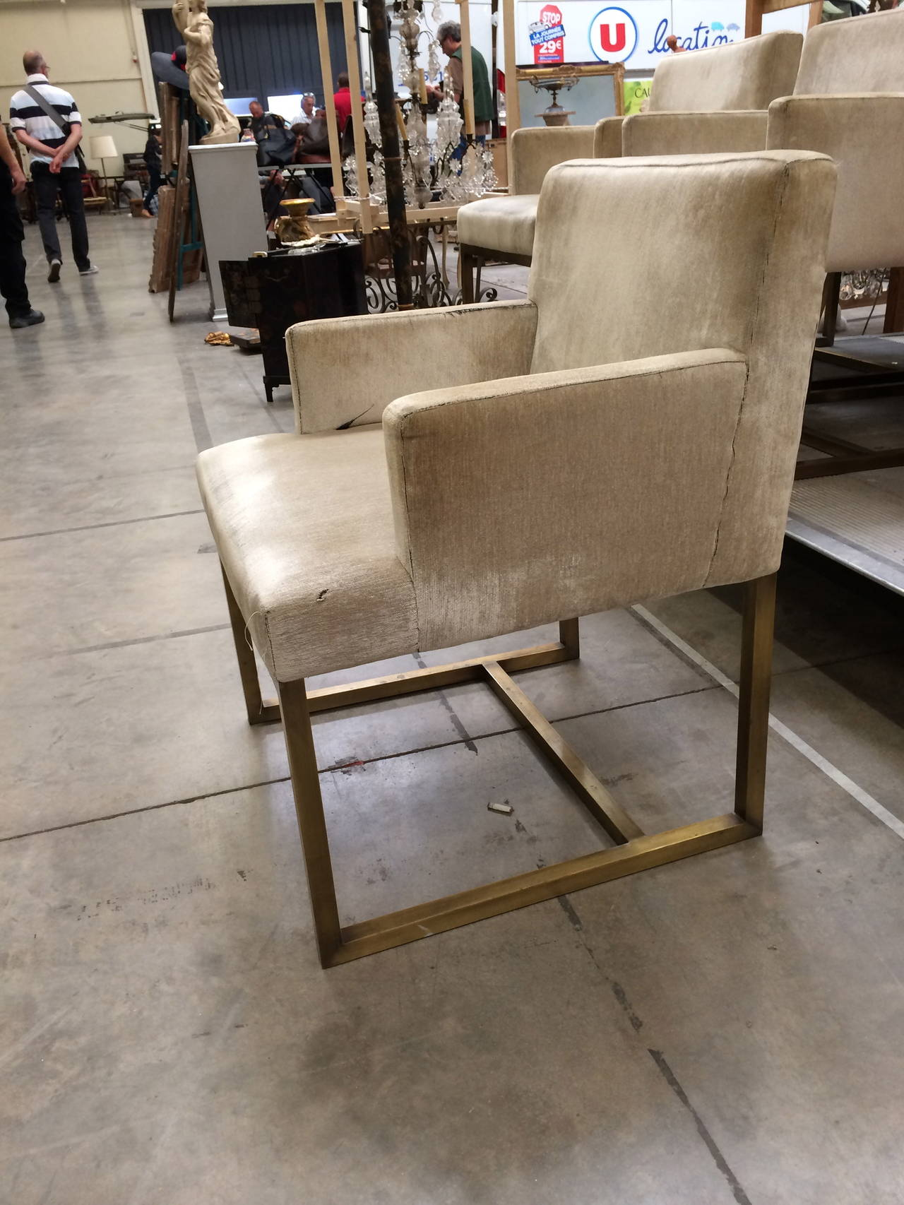 Mid-20th Century Three Pairs of Mid-Century Swedish Brass Chairs For Sale