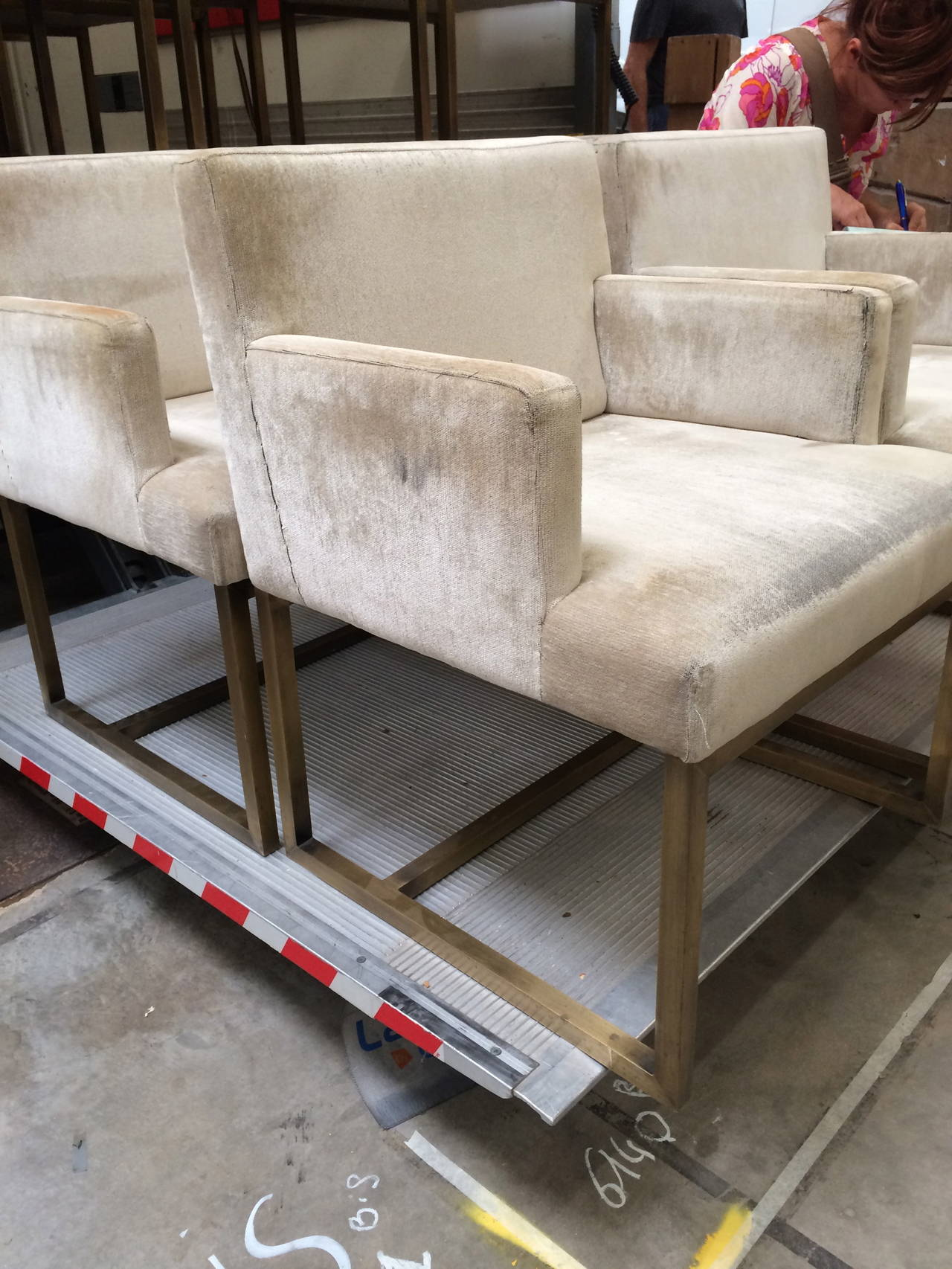 Three Pairs of Mid-Century Swedish Brass Chairs For Sale 4