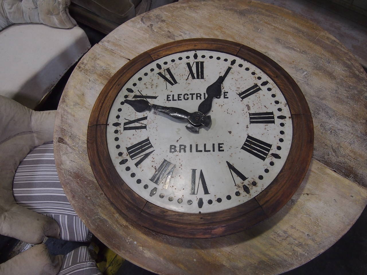 1930's French Brillie Walnut Railroad Station Clock In Good Condition For Sale In Nashville, TN